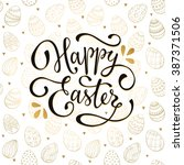 easter background with eggs... | Shutterstock .eps vector #387371506