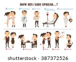 how hiv and aids transmitted...   Shutterstock .eps vector #387372526