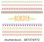 set of colorful hand drawn... | Shutterstock . vector #387376972
