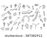 arrows set. vector hand drawn... | Shutterstock .eps vector #387382912