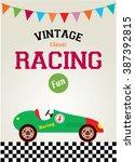vintage classic sport car fun... | Shutterstock .eps vector #387392815