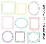 vintage photo frame in doodle... | Shutterstock . vector #387402535