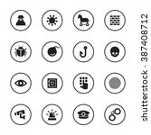 black flat security icon set...