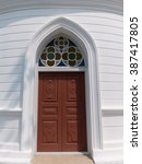 Gothic Wooden Church Door With...