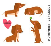 Cute Dachshund. Set Of...