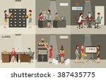 interior office building ... | Shutterstock .eps vector #387435775