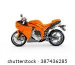 dark orange motorcycle isolated ... | Shutterstock . vector #387436285