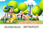 children playing in the public... | Shutterstock .eps vector #387469225