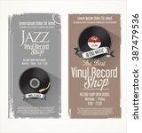 vinyl record shop retro grunge... | Shutterstock .eps vector #387479536