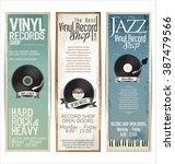 vinyl record shop retro grunge... | Shutterstock .eps vector #387479566