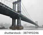 Manhattan Bridge In A Foggy Day.