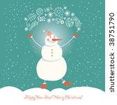 christmas snowman  vector... | Shutterstock .eps vector #38751790