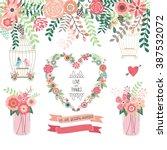 wedding floral invitation.we... | Shutterstock .eps vector #387532072
