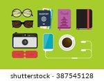 flat lay travel vector... | Shutterstock .eps vector #387545128
