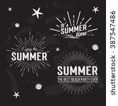 retro elements for summer... | Shutterstock . vector #387547486