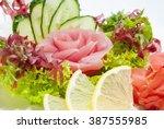 japanese cuisine sashimi with... | Shutterstock . vector #387555985