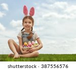 cute little child girl wearing... | Shutterstock . vector #387556576