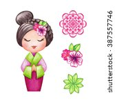 Cute Kokeshi Doll And Flowers...