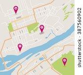 vector flat abstract city map... | Shutterstock .eps vector #387560902