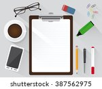 work place aerial view with... | Shutterstock .eps vector #387562975