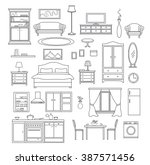 furniture items set in linear... | Shutterstock .eps vector #387571456