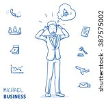 stressed young man in business... | Shutterstock .eps vector #387575002