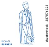 sad young man in business... | Shutterstock .eps vector #387576325