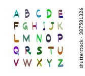 alphabet vector hand drawn... | Shutterstock .eps vector #387581326