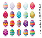 set of painted easter eggs for... | Shutterstock .eps vector #387585142