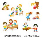 kids playing with toys | Shutterstock .eps vector #387594562