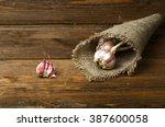 organic garlic on a wooden...