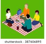 isometric picnic. isometric... | Shutterstock .eps vector #387606895