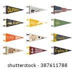 set of adventure pennants.... | Shutterstock .eps vector #387611788