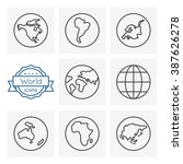 world line icons set | Shutterstock .eps vector #387626278