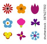set cute flowers. set of... | Shutterstock .eps vector #387627502