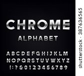 chrome alphabet font. metallic... | Shutterstock .eps vector #387636565