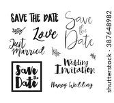 save the date wedding card.... | Shutterstock .eps vector #387648982