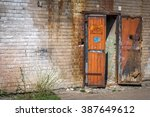 abandoned industrial brick wall ... | Shutterstock . vector #387649612