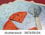 close up of cutting board with... | Shutterstock . vector #387658156