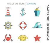 set of color line icons. made... | Shutterstock .eps vector #387662992