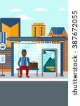 man waiting for bus. | Shutterstock .eps vector #387672055