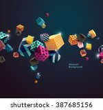 Multicolored decorative cubes. Abstract vector illustration.  | Shutterstock vector #387685156