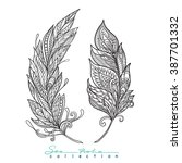 Decorative Feathers. Outline...
