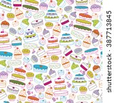 seamless background of cakes... | Shutterstock .eps vector #387713845