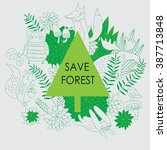 forest background with cute...   Shutterstock .eps vector #387713848