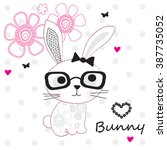 cute bunny girl with glasses on ... | Shutterstock .eps vector #387735052