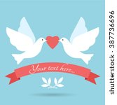 two lovely doves with heart.... | Shutterstock .eps vector #387736696
