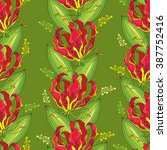 seamless pattern with gloriosa...   Shutterstock .eps vector #387752416