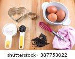 baking cookies utensils on... | Shutterstock . vector #387753022