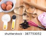 baking cookies utensils on... | Shutterstock . vector #387753052